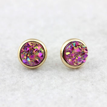 Pave Puddle Round Drusy Earrings Female Gold Flake Druzy Stud Earrings Jewelry