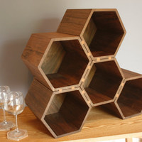 drona  large hexagonal wine rack in walnut 35 by stericdesign