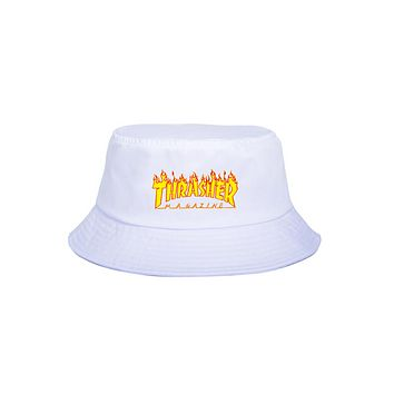 Thrasher Letter Flame Print Hip Hip Hat Spring Summer Casual Fisherman's Hat White yellow fire