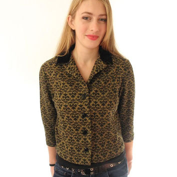 60s Swanky Blouse Black and Tan Olive Green Mid Century Print Velvet Collar Rhoda Lee Size 32 // Soft Cotton