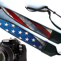 US flag camera strap. Vintage camera strap. DSLR / SLR Camera Strap. Camera accessories. Nikon Canon Fuji Sony and other camera strap.