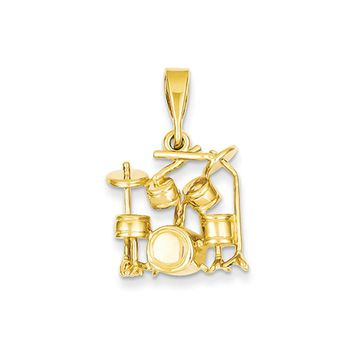 14k Yellow Gold 2D Polished Drum Set Pendant