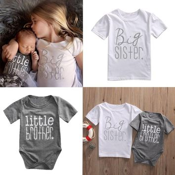 Casual Cotton Newborn Baby Toddler Girls Big Sister Little Brother Matching T-shirt Outfit Romper