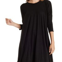 Black Jersey Knit Trapeze Dress by Charlotte Russe