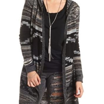 Hooded Aztec Duster Cardigan Sweater by Charlotte Russe - Black Combo