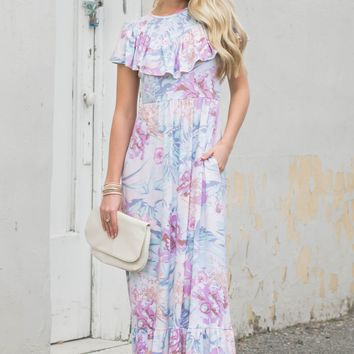 Mermaid Floral Pastel Maxi Dress