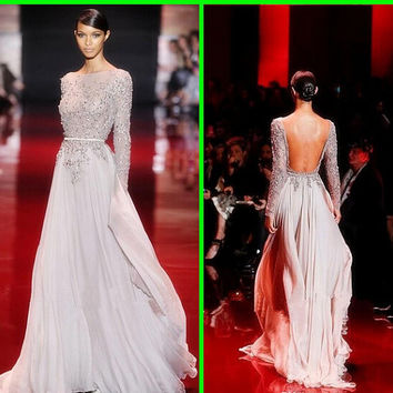 2015 Fashion Style Elie Saab Lace Appliqued Beaded Long Sleeves Evening dresses Floor length Backless Sheath Column Prom dresses