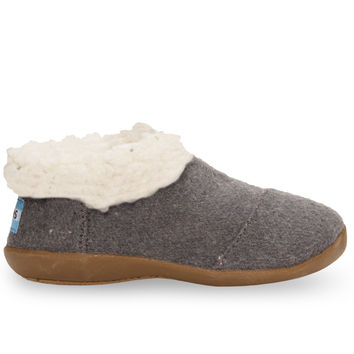 TOMS Charcoal Wool Tiny TOMS Slippers Black