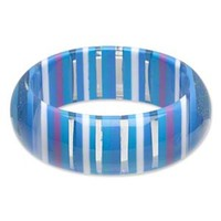 Chunky Lucite Bangle Bracelet 70s Mod Retro Blue Purple White Stripes