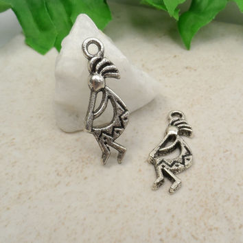 5 Kokopelli Charm, Native American Indian Fertility God, Flute Player 11mm x 21mm C53