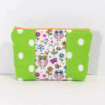 Makeup Bag Cosmetic Case  Accessory Pouch Patchwork Green Polka Dot Pouch with Owl Center Accent