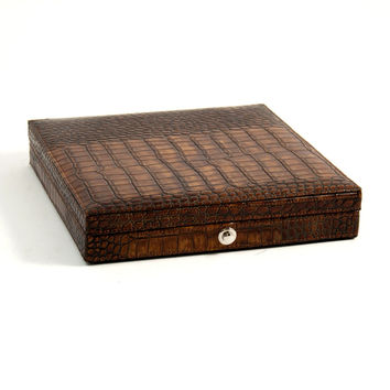 "Brown ""Croco"" Leather 12 Cigar Humidor w/ Humistat, T.P."