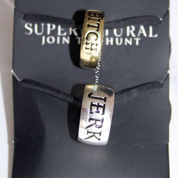 Licensed cool Supernatural Bitch Jerk Ring Necklace Pendant Set BFF Bestie Best Friends 2 PK