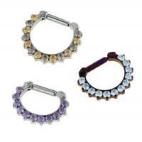 Industrial Strength Odyssey Titanium Faceted Gem Septum Clickers 16g 14g 12g [ISTiOdyssey11,12,14GemClicker] - $174.99 : Diablo Body Jewelry, The Art of High Quality