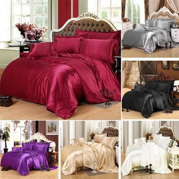 2/3PCS Popular Silk Damask Bed Linen Duvet Cover Jacquard Bedsheet Sets Luxury Silk Bedding Set King Size