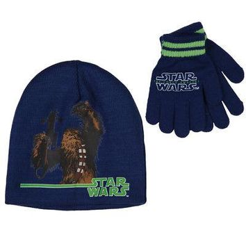 Star Wars Force Awakens Chewbacca Disney Kid's Youth Beanie/Glove Set - Blue