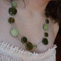 Shell necklace Three strand necklace with olive by Ellishshop