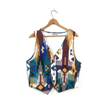 Southwestern Vest 80s Tribal Vest Cotton Bohemian Button Up Sleeveless Top Colorful Geometric Shirt Boho Southwest Tank Vintage Small Medium