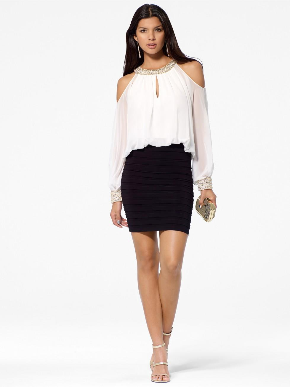 black amp white blouson dress from cach233 cocktail