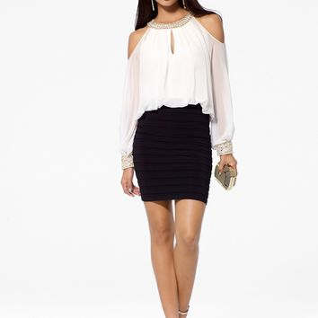 Black & White Blouson Dress