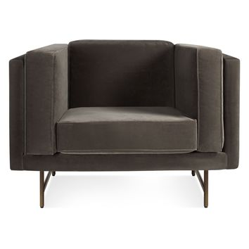 Blu Dot Bank Mink Velvet Lounge Chair