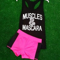 MUSCLES AND MASCARA TANK IN BLACK