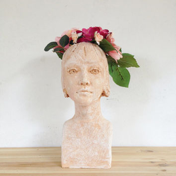 Head Planter - Face of Woman  - Terra cotta  Sculpture - Garden staute - Home Décor - Pottery