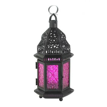Iron And Mulberry Glass Moroccan Style Candle Holder Lantern