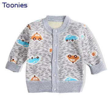 Winter Thick Warm Children Sweaters Clothing Cartoon Print Cotton Lining Toddler Boys Grils Cardigan Long Sleeve Infant Coat New
