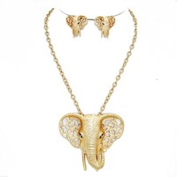 Wild Elephant Head Lucky Chain Design Silver Gold Necklace Stud Earrings Set Statement Fashion Chic Jewelry