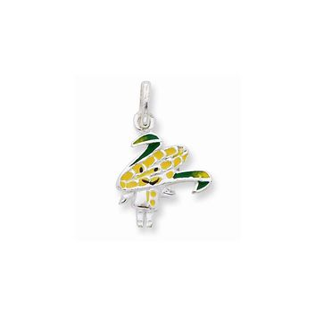 Sterling Silver Enameled Corn-Cob Person Charm