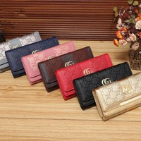 gucci women simple fashion letter embossed long section multifunction purse button three fold wallet clutch