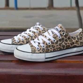 Converse Fashion Leopard Canvas Flats Sneakers Sport Shoes 818a7fb34904