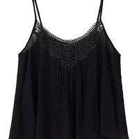 Black Spaghetti Strap Crochet Lace Panel Cropped Cami