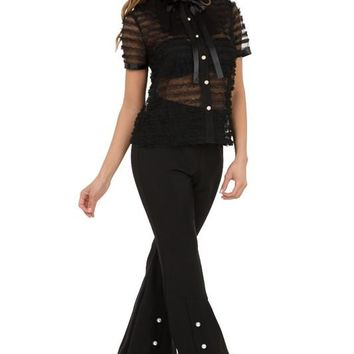 Flare Pant W/ Pearl Detail
