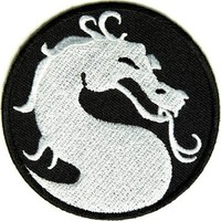 """Embroidered Iron On Patch - Circular Dragon Patch 3"""" Biker Patch"""