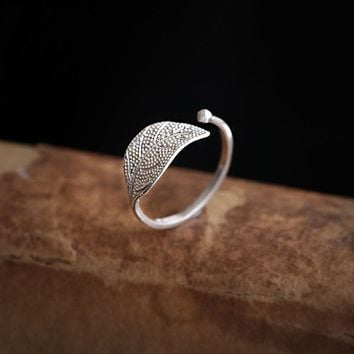 925 Silver Rings Jewelry Leaves Charm Vintage Minimalism Adjustable Girlfriend Mother 's Day Gift Anillos Mujer Rings For Women