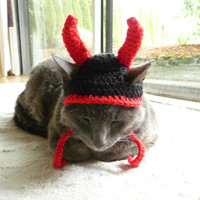 Cat Hat Costume Small Dog Hat Costume Pets Devil Hat for Cats and Small Dogs Devil Horns Cat Small Dog Hat Hats for Cats Cat Hat Halloween
