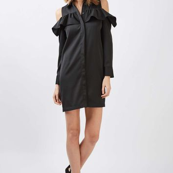 Ruffle Cold Shoulder Shirt Dress - New In This Week