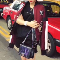 """Louis Vutitton"" Women Fashion Multicolor Badge Patch Embroidery Long Sleeve Baseball Clothes Short Section Jacket Coat"