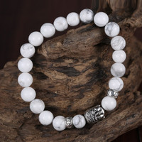 White Marbled Howlite Beaded Bracelet with Buddha Charm;  Awareness, Wisdom, Meditation