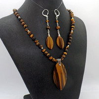 Tiger Eye Pendent Necklace Earrings Set Marquise Pendants Natural Stone
