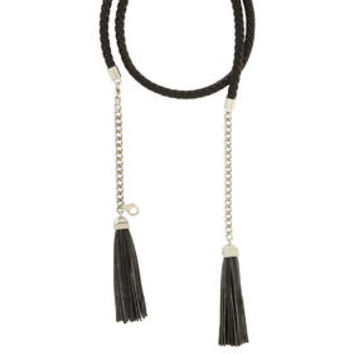 Black BCBG Braided Leather Tassel Belt