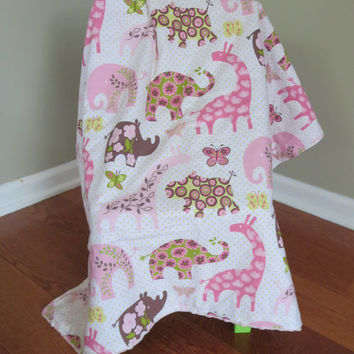 Baby Girl Blanket, Elephants, Giraffes, Hippos, Pink and Green Minky Stroller Blanket