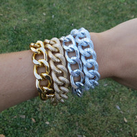 Thick Chunky Shiny Gold or Silver Wrap Chain Bracelet  - faux pave diamond cut chain and curb chain - stacking layering bracelets jewelry