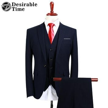 Men Navy Blue Tuxedo Suit Fashion Slim Fit Three Piece Suit Men Classic Business Suits