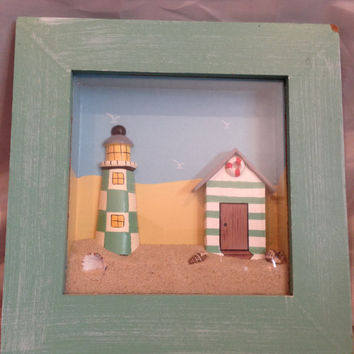 Teal Beach Themed Shadow Box with Lighthouse, Life Guard Shack, Sand and Sea Shells