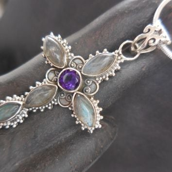 Labradorite & Amethyst .925 Sterling Silver Cross pendant/necklace