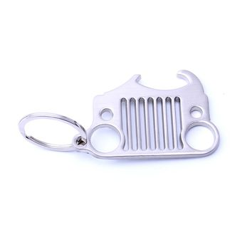 Free Shipping Grill KeyChain with Bottle Opener for Beer&Soda Bottles Key ring for Jeep Wrangler Accessories Enthusiasts Silver