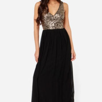 LULUS Exclusive Maximum Shine Black and Gold Sequin Maxi Dress